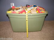 Large Tote Of Wooden Building Blocks Vintage Colored Shaped And Used