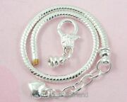 Wholesale Silver Plated Heart Snake Chain Charm Bracelet Fit European Bead P13