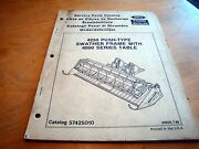 New Holland Versatile 4250 Swather Frame Table Header Parts Catalog Manual 4000