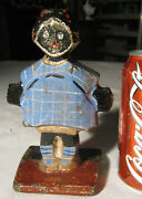 Rare Hubley 242 Topsy Black Girl Childs Room Cast Iron Statue Toy Doll Doorstop