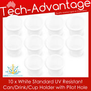 10 X Standard Size Recessed White Drink/cup/can/stubbie Holder Marine Boat Yacht