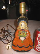 Antique Albany Foundry Cast Iron Doll Girl Toy Flowers Doorstop Statue Art Lamp