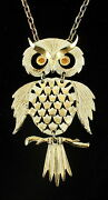 Vintage Coro White Washed Gold Tone Movable Owl Necklace 4 Drop Mod 1960's