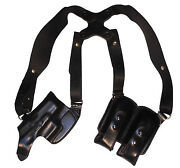 Leather Horizontal Shoulder Holster For Taurus 709 740 Pt111 Pt140 Pt145 24/7 G2