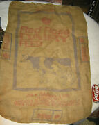 Antique Graphic Dairy Milk Cow Red Rose Feed Seed Burlap Sack Sign Farm Art Bag