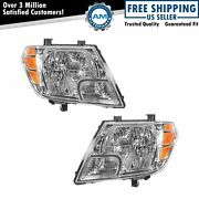 Headlight Headlamp Left And Right Pair Set Of 2 For 09-19 Nissan Frontier Truck