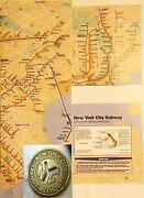 New York City Subway Token Framed With Map-in A New York Minute- Lot Chopin