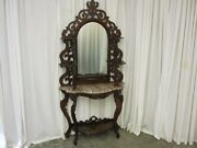 Antique Victorian Style Marble Top Mirrored Walnut Andeacutetagandegravere Excellent Condition