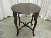 Antique Side/lamp Table Round With Leaf Carved Legs Unique Piece Extra Nice
