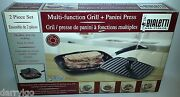 New Bialetti 2 Piece Set Multi-function Grill + Panini Press Made In Italy