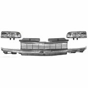Chrome Grill Grille And Headlight Headlamp Set For 98-05 Chevy Pickup Truck Ls S10