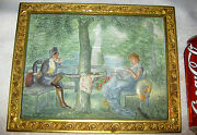 Antique Bradley And Hubbard Cast Iron Man Lady Bench Statue Art Plaque Painting
