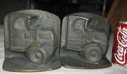 Antique Usa Art Deco Mack Truck Diesel Oil Gas Tool Statue Cast Iron Bookends Ny