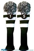 1 5 Classic Green White Knit Pom Golf Club Headcover Vintage Head Covers Set