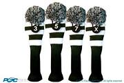 3 5 7 X Classic Green White Knit Pom Golf Club Headcover Vintage Head Covers Set