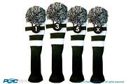 1 3 5 X Classic Green White Knit Pom Golf Club Headcover Vintage Head Covers Set