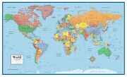World Classic Elite Wall Map Mural Poster Paper-laminated-framed