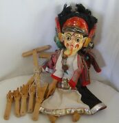 Indian Puppet Show Paper Papier Mache Dolls 4 Masks On One 4 Side Hand Made Doll