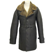 Roy Brown Ginger Mens Smart Winter Real Sheepskin Leather Duffel Cromby Coat