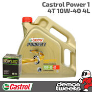 4l Castrol Power 1 10w40 Oil And Hiflow Filter For Bmw 2010 R1200 Gs Hf164