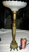 Antique Rembrandt Torche Bronze Marble Art Deco Glass Shade Lamp Sconce Light Ny