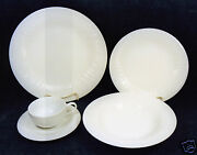 42-pieces Set For 7+ Of Dansk Linea-white Ribbed Pattern Fine China