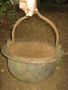 Antique Country Hearth Fireplace Cast Iron Pot Cooking Cauldron Syrup Kettle Urn