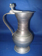 7.5 Antique German Pewter Water Or Oil / Vinaigrette Handle And Lid And Engraved