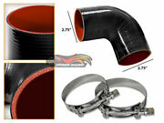 Black Silicone 90 Degree Elbow Coupler Hose 2.75 70 Mm + T-bolt Clamps Ch