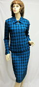 St John Knit Collection Nwt Baltic Blue Black Jacket Skirt Suit Size 10 Rt 2490