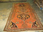 Antique Fine Hand Knotted Wool Caucasian Russian Karabagh Long Rug 4and039-6 X 9and039-6