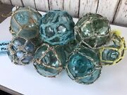 Japanese Glass Fishing Floats - 10 X 3andrdquo With Netting - Authentic Japan Balls