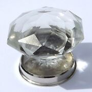 Large Crystal Pointy Cut Glass Pulls Knobs Chrome Base Wardrobe And Cupboards