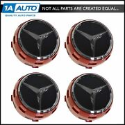 Oem Raised Ember Red And Black Wheel Center Cap Set Of 4 For Mercedes Benz New