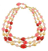 Vintage Pink Red Murano Glass Pink Pearls Triple Strand Necklace 17