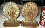 Antique Victorian Bradley Hubbard Cast Iron Peacock On Urn Cast Iron Bookends