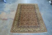 Vintage Antique Russian Caucasian Yerevan Hand Knotted Rug 4and039 X 5and03911 Wool
