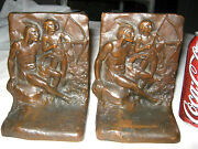 Antique W.b. Weidlich Brothers American Indian Bow And Arrow Bronze Metal Bookends