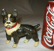 Rare Antique Hubley Usa Solid Cast Iron Boston Terrier Puppy Dog Toy Doorstop