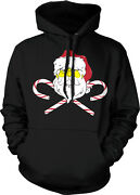Santa Claus Crossed Candy Canes Christmas Festive St Saint Nick Hoodie Pullover