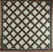 Lg. Elegant Vintage 1870and039s Double Irish Chain 9-patch Antique Quilt Nice Border