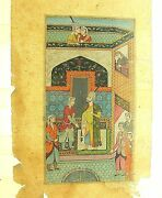 18/19th C.mughal Fantastic Quality W/c Double Sided W/c Illustration Lucite Case