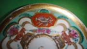 Rare Chinese Antique Export Hand Painted Gold Overglaze Porcelain Plate Saucer