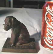 Antique Cast Iron Foundry Dog Glasses Dot Hound Advertising Statue Paperweight