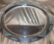 Wilton Armetale Zia Oval Serving Platter 19 1/2 Turquoise Made In Usa