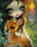 Jasmine Becket-griffith Art Print Fairytale Deer Signed Brother And Sister