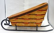 Longaberger Holiday Sleigh Basket With Iron Runners And Protector Dated 1997