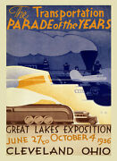 Train 1936 The Great Lakes Cleveland Ohio Travel Vintage Poster Repro Free S/h