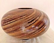 Paradox Pottery Signed Wheel Thrown Round Diagonal Swirl Pot 11.5 inches wide