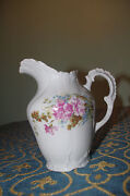 shabby chic  French limoges Roses pink flowers  tea coffee milk jug pitcher